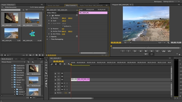 Screenshot von Adobe Premiere Pro CC